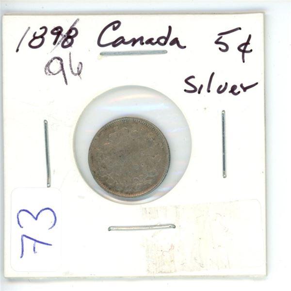 1896 Cdn silver small 10¢ coin