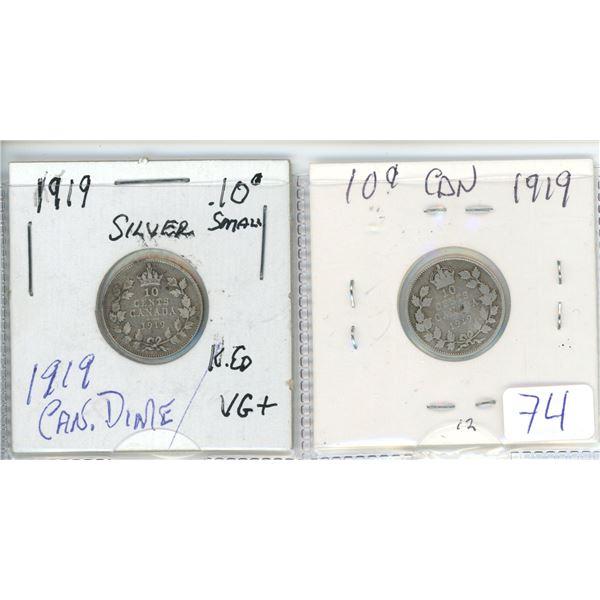 2 X 1919 Cdn silver small 10¢ coin