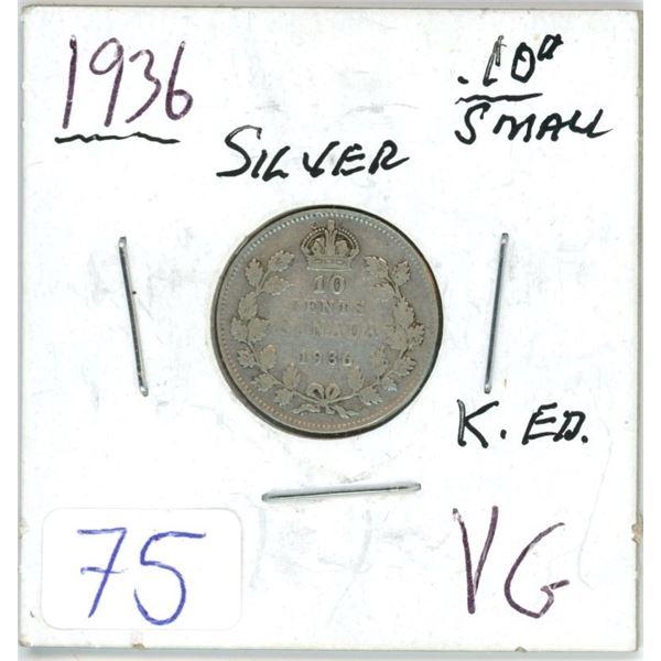1936 Cdn silver small 10¢ coin