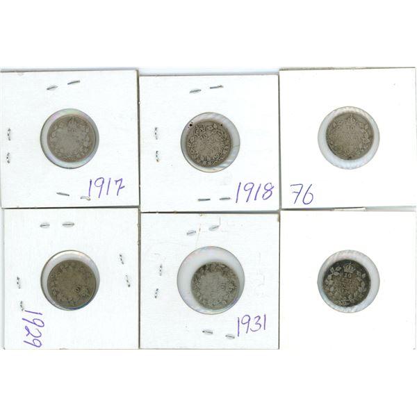 6 Cdn silver small 10¢ coins - 1917, 1918, 1919, 1929, 1931, 1936