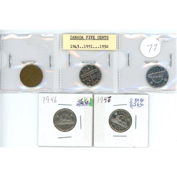 5 Cdn 5¢ coins - 1943, 46, 47, 51, 52