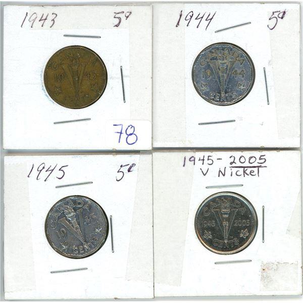 4 Cdn 5¢ coins - 1943, 44, 45, 45-2005