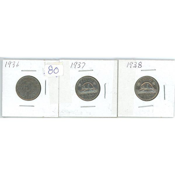 3 Cdn 5¢ coins - 1936, 37, 38