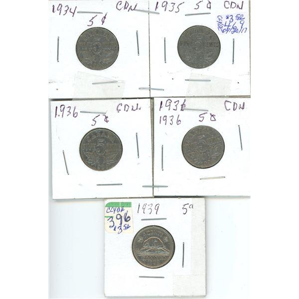 5 Cdn 5¢ coins - (2) 1934/35 (2) 1936 (1) 1939
