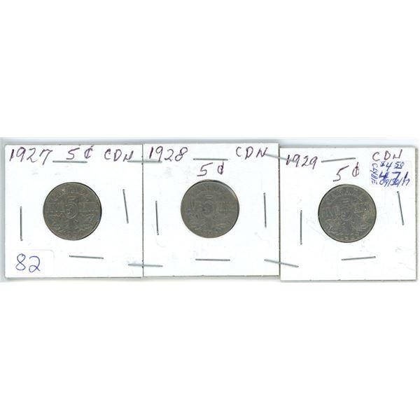 3 Cdn 5¢ coins - 1927, 28, 29