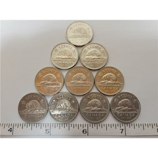 10 Cdn 5¢ coins all 1867-1992