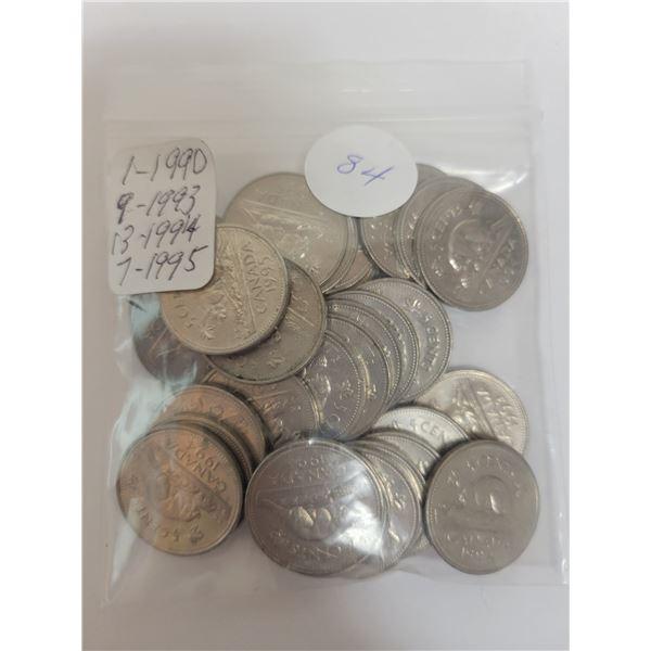 30 Cdn 5¢ coins (1 X 1990, 9 X 1993, 13 X 1994, 7 X 1995)