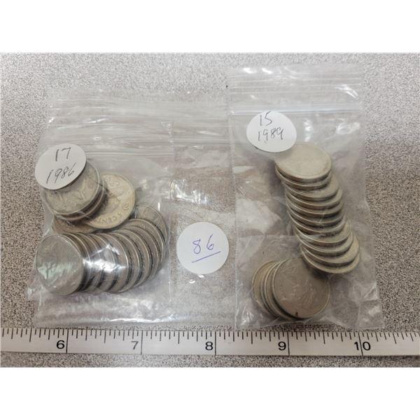 32 Cdn 5¢ coins - 15 X 1989, 17 X 1986