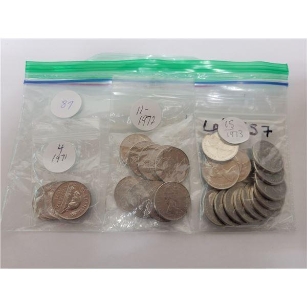 30 Cdn 5¢ coins - 4 X1971, 11 X 1972, 15 X 1973