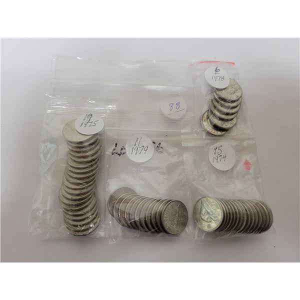 51 Cdn 5¢ coins - 15 X 1974, 19 X 1975, 6 X 1978, 11 X 1979