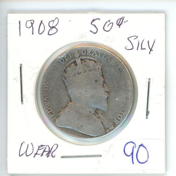 1908 Cdn silver 50¢ coin