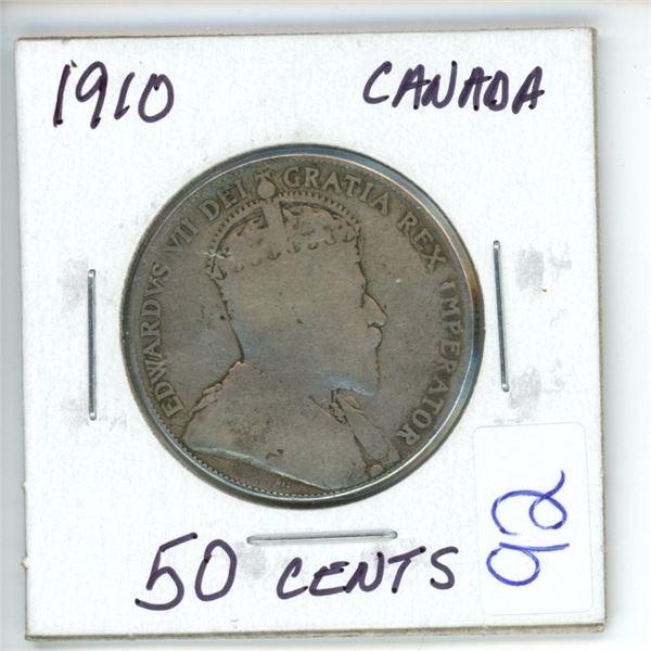 1910 Cdn silver 50¢ coin