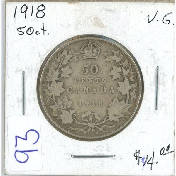 1918 Cdn silver 50¢ coin