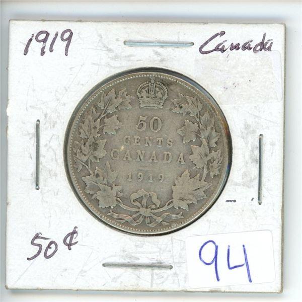 1919 Cdn silver 50¢ coin