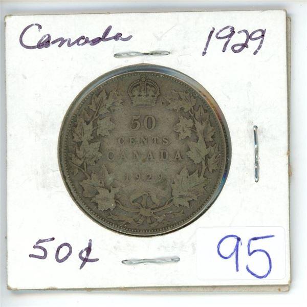 1929 Cdn silver 50¢ coin