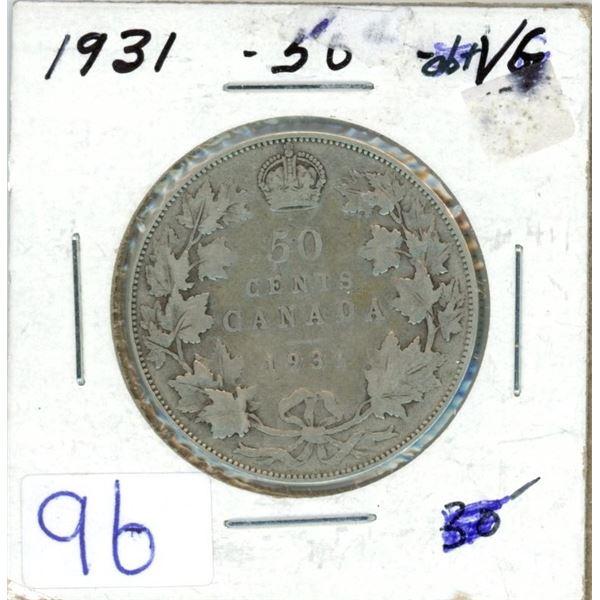 1931 Cdn silver 50¢ coin