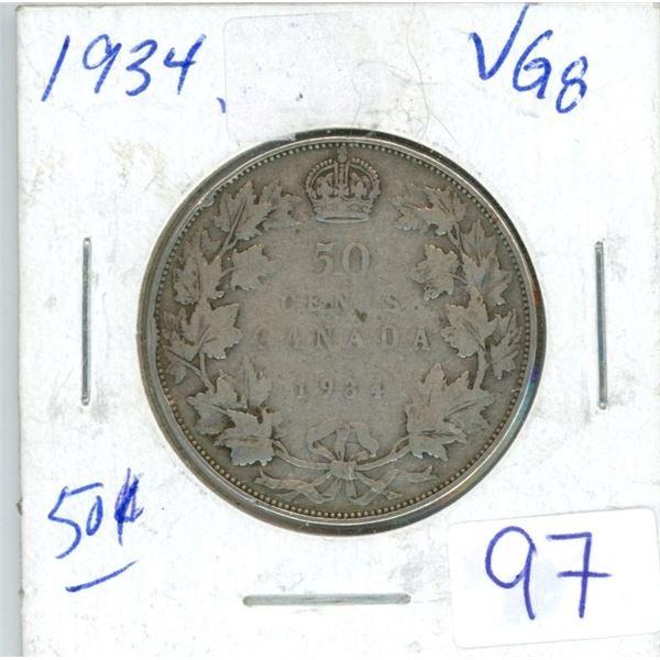 1934 Cdn silver 50¢ coin