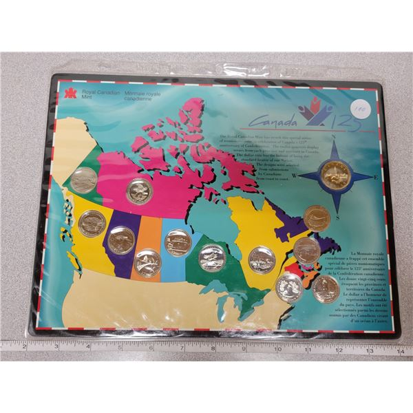 1992 RCM Canada 125 anniversary - 12 special quarters & 1 loonie