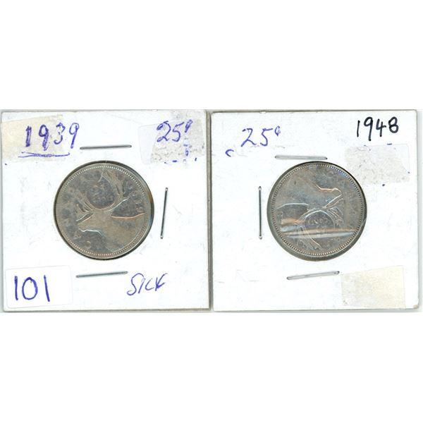 2 silver 25¢ coins 1939 & 1948