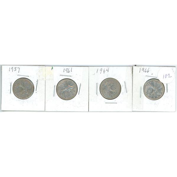 4 silver 25¢ coins 1957, 61, 64, 66