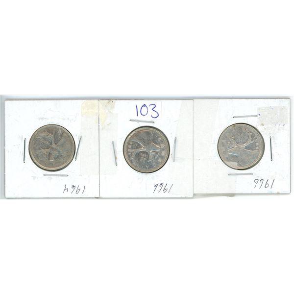 3 silver 25¢ coins 1-1964, 2-1966