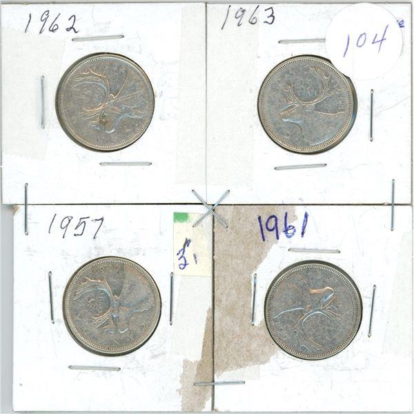 4 silver 25¢ coins - 1957, 561, 62, 63