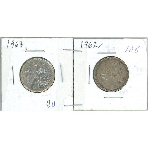 2 silver 25¢ coins 1962, 63