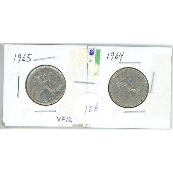 2 silver 25¢ coins 1964, 65