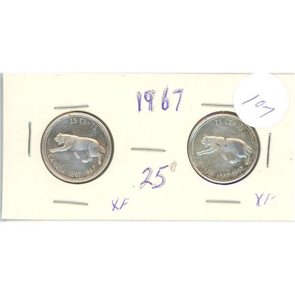 2 silver 25¢ coins - 1967
