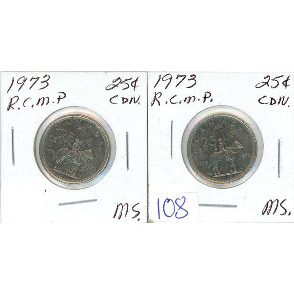 2 silver 25¢ coins 1973 RCMP