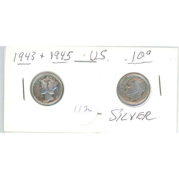 2 silver US 10¢ coins - 1943, 1945