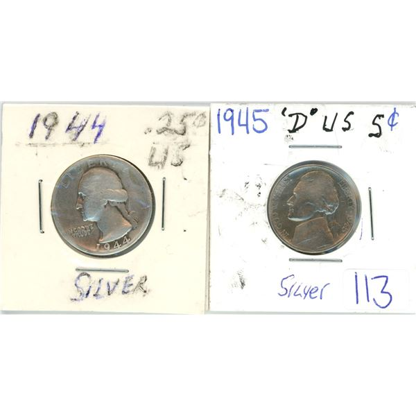 2 silver US 5¢ coin 1944, 1945
