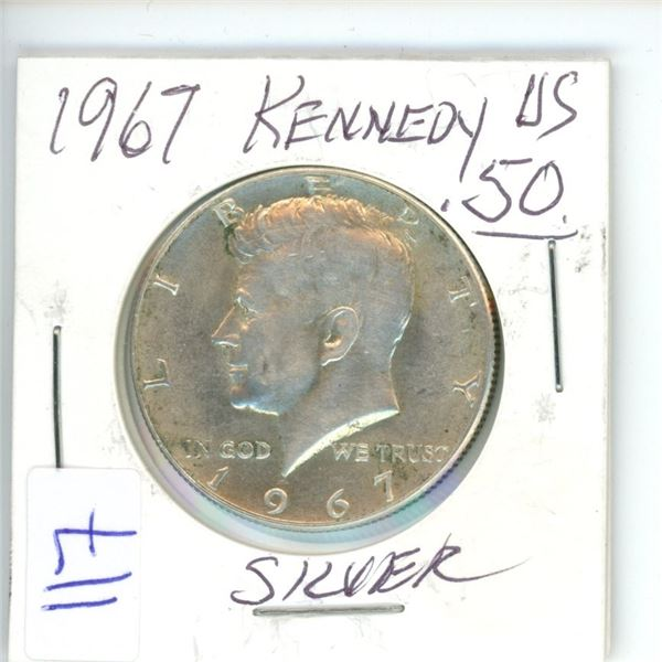1967 US silver 50¢ coin Kennedy