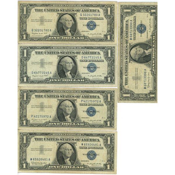 """5 U.S. $1.00 bills series 1957 3 """"A"""" 2 """"B"""""""