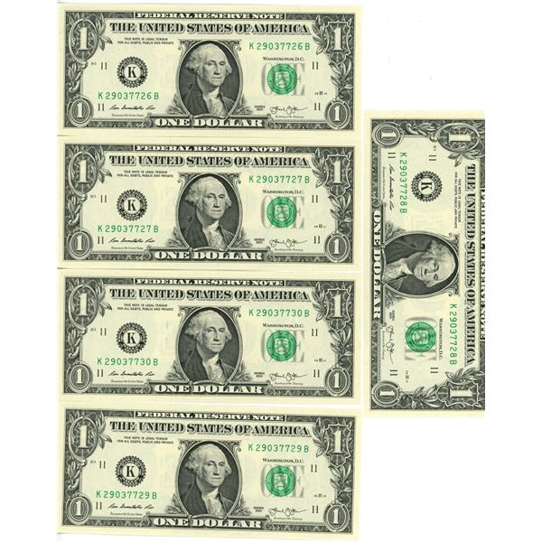 5 US $1.00 bills series 2003 uncirculated & sequence NOS