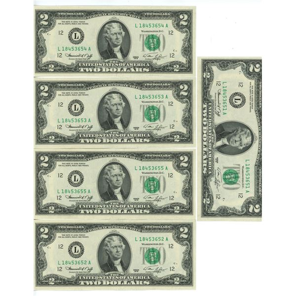 5 US $2.00 bills series 1976 uncirculated & sequence NOS