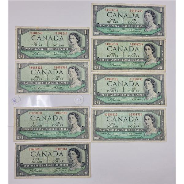 8 1954 Canadian $1.00 bills