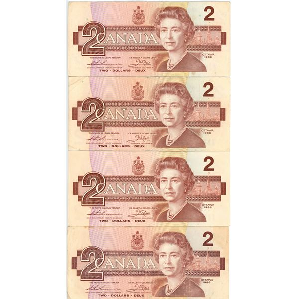 4 1986 Canadian $2.00 bills