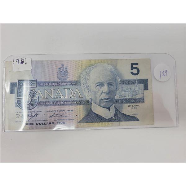 1 1986 Canadian $5.00 bill