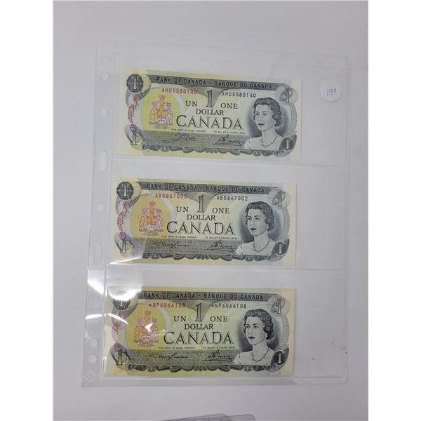 3 1973 Canadian $1.00 bill uncirculated