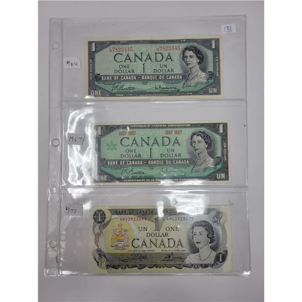 3 1973 Canadian $1.00 1954-1967-1973 AU