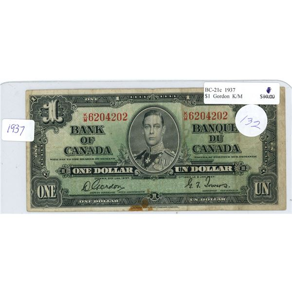 1937 Canadian $1.00 bill King George