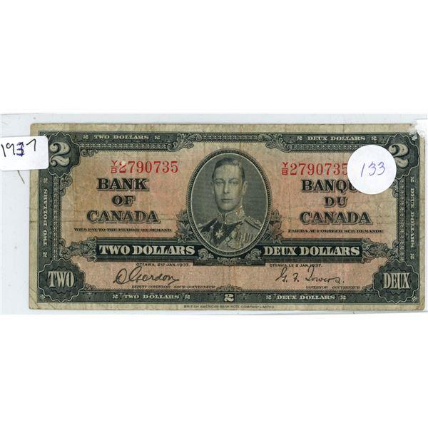 1937 Canadian $2.00 bill King George