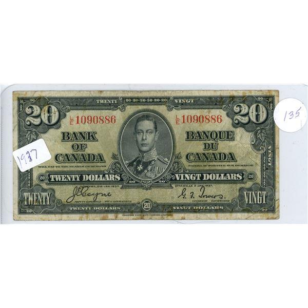 1937 Canadian $20.00 bill King George