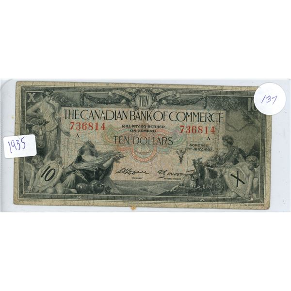 1935 The Canadian Bank of Commerce $10.00 bill