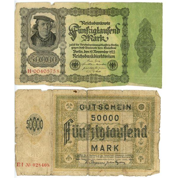 2 German Mark large format bills 1-1922 50,000