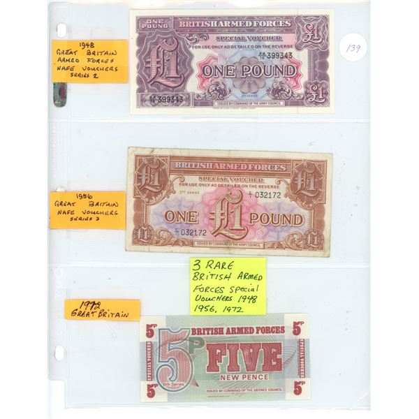 3 British armed forces special vouchers 1948, 1956, 1972