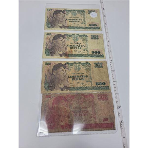 4 Bank of Indonesia bills, 3 500, 1 100