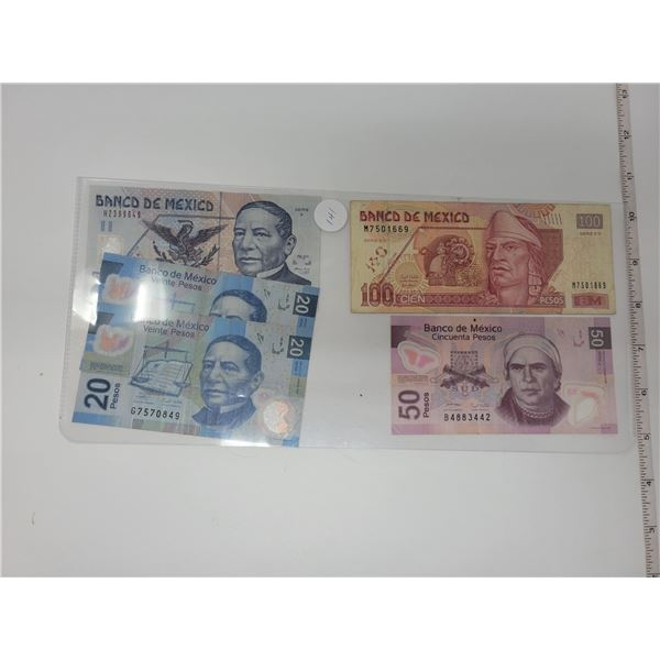 4 Banco De Mexico 2 20's, 1 50, 1 100