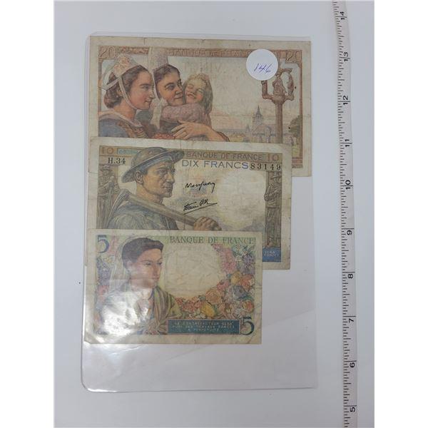 3 Francs notes 20, 10, 5